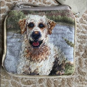 Handbags - Labrador needlepoint change purse